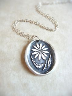Flower wax seal charm jewelry pendant necklace by DreamofaDream