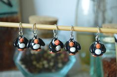 Set of 5 Polymer Clay Penguin Knitting Stitch Markers