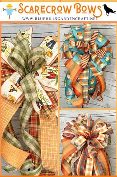 "The Scarecrow Wreath Bows are typically 12"" wide x 20-26"" long. The bows typically have 5 fabrics with 14-20 loops. Fall bows can be attached to a wreath, lantern, mailbox, lamp post, fence gate, corn stalks, stair bannister. Bows make terrific gifts for a housewarming or Thanksgiving hostess gift."