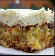 Pineapple Pecan Cake with Cream Cheese Frosting |