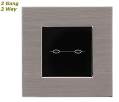 GLSTouch Designer Silver & Black Brushed Aluminium Touch Light Switch (On/Off) 2 Gang 2 Way