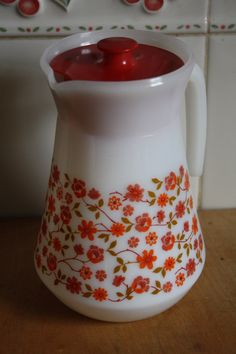Vintage Retro 1960s Pyrex Arcopal Jug Pitcher Coffee Pot Orange and Red Flower Design