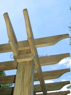 Details of an arbor corner. Details of an arbor corner. Pergola Swing, Deck With Pergola, Outdoor Pergola, Backyard Pergola, Pergola Shade, Pergola Kits, Outdoor Rooms, Backyard Landscaping, Outdoor Chairs