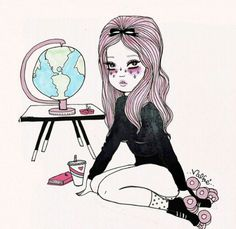 Studying geography  ~ Art by Ilse Valfre ~
