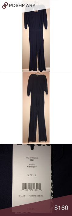 Diane Von Furstenberg $160 NWT Size 2 Jumpsuit Blouson jumpsuit silhouette with gathered cape sleeves for an ultra-chic look Bateauneck Slit cape sleeves Concealed side zip closure with hook-and-eye and snaps Back keyhole with button closures Banded waist Side slant pockets Pleated wide-leg pants Viscose Dry clean Imported Diane von Furstenberg Other