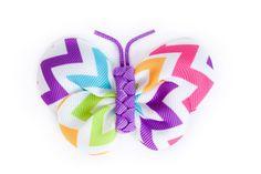 Rainbow Chevron Butterfly Ribbon Hair Clip