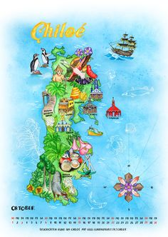 Calendar page: Illustrated map of Chiloé (Chile) © by Claudia Ottilie