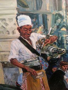 """""""VISÁN""""; SÁNCHEZ LÓPEZ, Vicente (La Habana, Cuba,1950 - 2007). """"Moroccan Tea seller"""" (""""Vendedor de té""""). Oil on canvas. Signed on low left. Measurements: 55 x 46 cm. Autor referenciado en el Catálogo Nacional de Arte 99/00, pág. 447, y 01/05, pág. 391 (Barcelona; Ediciones de Arte Anuart)."""