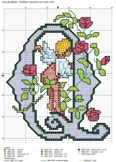 Resultado de imagen de alfabeto maiuscolo con putto e fiori Z