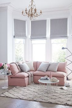 There's been a lot of buzz in design circles around blush pinks in interiors this year, and it's a trend that we are really excited about. Many people choose to avoid pink altogether in fear that they will create something similar to Barbie's Dreamhouse, Design Living Room, Living Room Color Schemes, Living Room Decor, Colour Schemes, Elegant Living Room, Living Room Grey, Home And Living, Modern Living, Blinds In Living Room