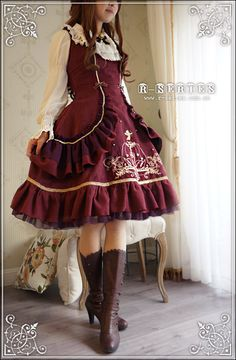 R-Series Odette Mansion lolita JSK dress red, I love all the layers Kawaii Fashion, Lolita Fashion, Cute Fashion, Asian Fashion, Rock Fashion, Estilo Lolita, Cute Dresses, Cute Outfits, Emo Outfits
