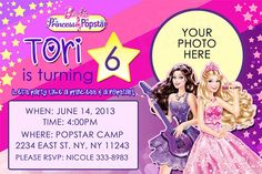 Barbie The Princess & The Popstar Birthday Invitation by partybean, $11.50