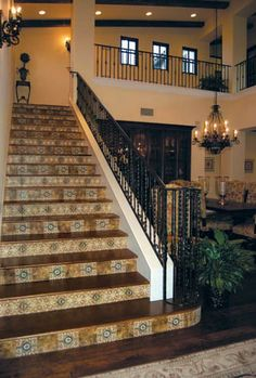 Custom Tile Gallery | Stairway Design Ideas | Travertine and durango decorative floor tile and unique stair risers by StoneImpressions.