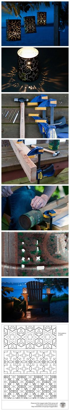 Garden party decorations diy tin can lanterns Ideas Tin Can Crafts, Fun Crafts, Diy And Crafts, Upcycled Crafts, Tin Can Lanterns, Garden Lanterns, Garden Lamps, Creation Deco, Tin Candles