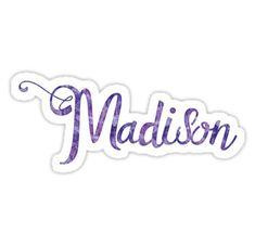 'Madison - name' Sticker by navtrav Name Tattoos, Henna Tattoos, Madison Name, People Names, Name Stickers, Name Tags, Skin Case, Baby Names, Unicorns