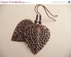 WEEKEND SALE Copper Filigree heart earrings by Eleganceforyou, $4.25