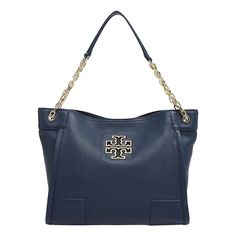 A signature logo cutout trimmed in gilded hardware punctuates Tory Burch's soft, slouchy tote with polished chain link handles. Monogram Shop, Chain Shoulder Bag, Signature Logo, Online Bags, Tory Burch, Handbags, My Style, Black, Arm