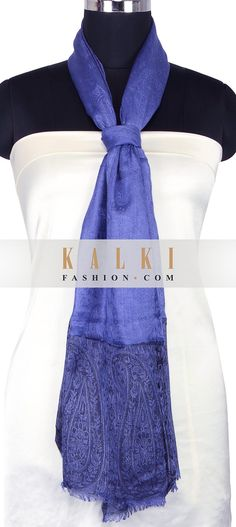 Buy Online from the link below. We ship worldwide (Free Shipping over US$100) http://www.kalkifashion.com/persian-violet-scarf-enhanced-in-paisley-weave-only-on-kalki.html