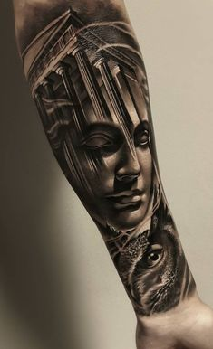 35 of the Best Architecture Tattoos or How To Have Your World on a Sleeve - architectural tattoo © tattoo artist Samurai Standoff 💕💕💕💕 - Athena Tattoo, Zeus Tattoo, Poseidon Tattoo, Best Sleeve Tattoos, Tattoo Sleeve Designs, Sparta Tattoo, Gott Tattoos, Gladiator Tattoo, Greek Mythology Tattoos