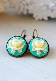 Turquoise Blue and Ivory Rose Earrings. Vintage Style