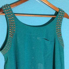 NWT Beautiful Studded High Low Sheer Blouse NWT Beautiful Green Studded High Low Sheer Blouse. Brass studs around armholes. Back has snaps. Double Zero Tops Blouses