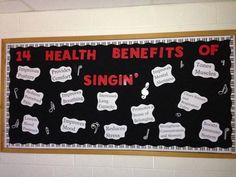 Bulletin Board for a Music Classroom stating the 14 Health Benefits of Singing Middle School Choir, Music Classroom, Classroom Decor, Future Classroom, Choir Room, Teacher Bulletin Boards, Music Worksheets, Elementary Music, Elementary Library