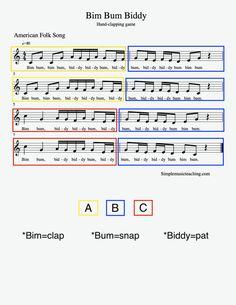 Bim Bum Biddy hand-c Elementary Music Lessons, Music Lessons For Kids, Music Lesson Plans, Music For Kids, Elementary Schools, Drum Lessons, Singing Lessons, Choir Songs, Fun Songs