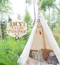 DIY- No Sew Teepee. Love it for a Peter Pan - Neverland Party by Fawn Over Baby