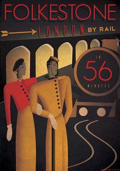 Art Deco Bauhaus Poster Print  Vintage Railway Train Travel | Holiday  Seaside 1920's 1930's 1940's - Folkestone London Vogue.