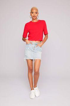 314a525244c1a7 Ardene Kendall   Kylie Buttoned Denim Mini Skirt - Clothing
