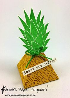 jpp - Ananas Gastgeschenk / Pineapple Goodie / party favor / gift / summer / tropical fruit / Stampin' Up! Berlin / Pyramid Pals / Playful Pals / #GDP043 www.janinaspaperpotpourri.de