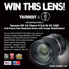 Win a Tamron 24-70 2.8 VC Lens for Canon, Nikon, or Sony SLR Cameras | All kinds of Giveaways in one place! Daily Updating! Why bother wasting your time?
