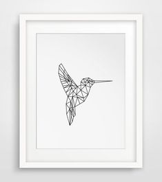 Geometric Hummingbird Art for your wall! #AnimalArt