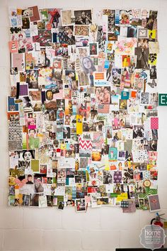 Material girl: an interior designer's office would be incomplete without a moodboard - this huge collage of clippings and swatches is a constant source of inspiration.