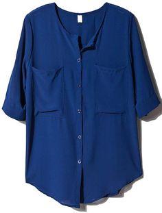 Blue Half Sleeve Pockets Chiffon Blouse - Sheinside.com