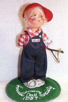 """Annalee Doll Society NAUGHTY BOY Logo Kid 1987 Artist Dolls With SLINGSHOT 7"""""""