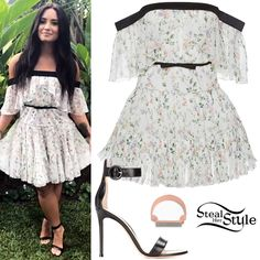 Demi Lovato attended the launch of the Demi Lovato for Fabletics capsule collection today at the Beverly Hills Hotel in Los Angeles wearing a Giambattista Valli Floral Print Off The Shoulder Mini Dress ($3,265.00), a Monica Vinader Signature Diamond Ring (£475.00 – similar style) and Gianvito Rossi Portofino Leather Sandals ($815.00). You can find similar sandals for less at Boohoo ($40.00).