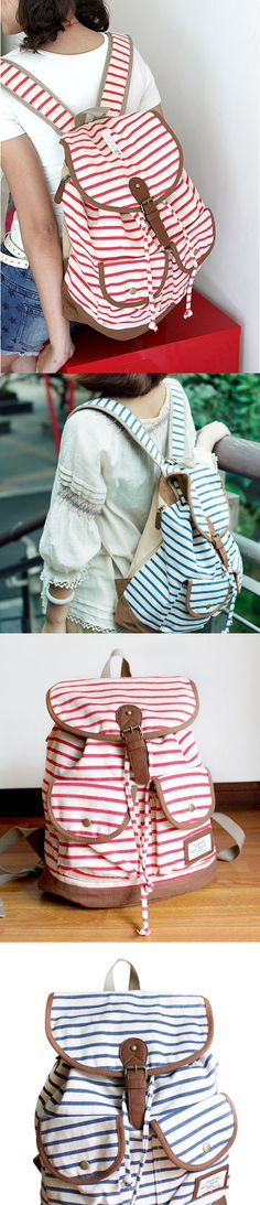 2017 Fashion Striped Two-pocket School Bag Canvas Leisure Backpack
