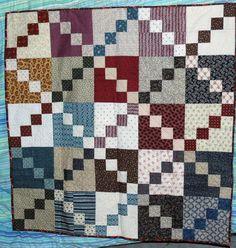 Free Quilt Patterns : Easy Double Four Patch Scrap Quilt Pattern