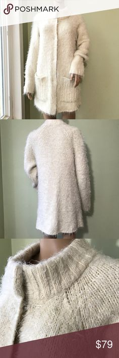 Free People Super Soft Fuzzy Hairy Sweater Coat This is the softest, coziest, warmest, hairiest cardigan sweater ever! Stay warm, yet look cool! This is an MVP that can MAKE an outfit or BE an outfit! Perfect layering piece, or just add leggings and booties for a grab and go outfit. Lush fabric!! Make a statement! Please see photos for approximate chest/length measurements as well as fabric/care instructions. Love, love, love and EUC! Free People Sweaters Cardigans