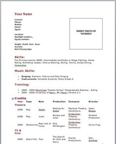Acting Resume Sample  Writing Tips  Resume Companion  Acting
