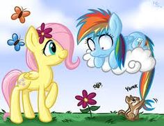 Filly Fluttershy and Rainbow Dash