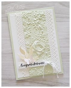 Blue Rose Paper Treasures: Delicate Lace Edgelits – Projects to Try – lace Wedding Cards Handmade, Diy Wedding, Lace Wedding, Stampin Up Karten, Wedding Anniversary Cards, Handmade Anniversary Cards, Happy Anniversary, Embossed Cards, Embossed Paper