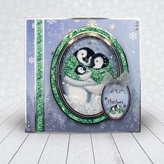 Card created using Hunkydory Crafts' Penguin Cuddles Topper Set from the A Cuddly Christmas Topper Collection Christmas Craft Fair, Christmas Topper, Christmas Frames, Christmas Scenes, Christmas Cards To Make, Christmas Settings, Christmas Past, Christmas Wishes, Xmas Cards