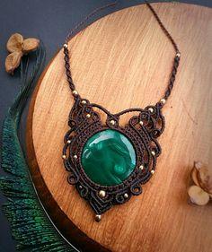 Malachite macrame necklace. Bohemian jewelry by EarthBoundMacrame