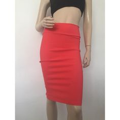 Neon Coral Pencil Skirt Fantastic Color! Has wide waistline and a slit up the back. Perfect for Valentines Day. Namaste Skirts Pencil