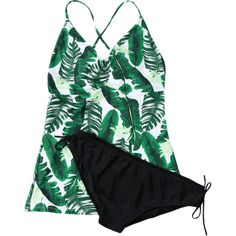 Backless Plus Size Palm Leaf Print Tankini ($14) ❤ liked on Polyvore featuring swimwear, bikinis, plus size two piece, palm tree print bikini, tankini swimwear, plus size beachwear and backless tankini