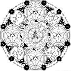 Just a magic circle that I create to an RPG character of mine. A Magic Circle Magic Circle Crochet, Magic Ring Crochet, Full Metal Alchemist, Magic Loop, Star Magic, Magic Symbols, Ancient Symbols, Geometry Art, Sacred Geometry
