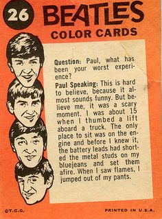 Beatles Color Cards | RetroWeb Nostalgia: Beatles Cards