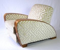 Pair of Art Déco Lounge Chairs 1920s, Andrew Martin Silk Fabric | From a unique collection of antique and modern armchairs at https://www.1stdibs.com/furniture/seating/armchairs/